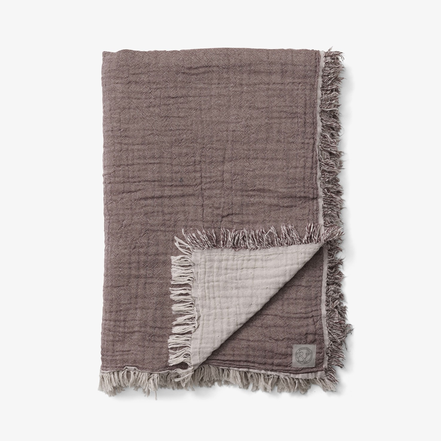 &Tradition Collect Throw SC33 Cotton Plaid Cloud & Burgundy